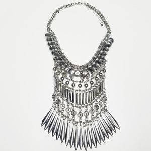 Silver Layered Necklace Festival Costume